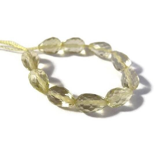 10 Lemon Quartz Beads, Long-Drilled Faceted Briolettes, 5x4mm-7x4mm, Ten Light Yellow Gemstones for Jewelry Making (L-Lq5b)