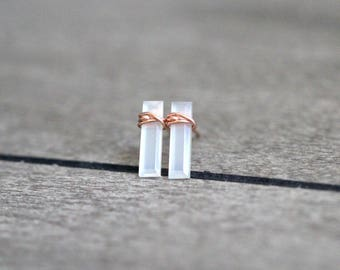 Moonstone Bar Studs ,  Gold Gemstone Boho Stud Earrings , Rose Gold or Sterling Silver ,  White Moonstone Sticks , Boho Minimalist Gifs
