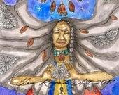 Native American Art Spider Grandmother Goddess Art Print Paganism Fantasy Shamanism Art Divine Feminine Sacred Pagan Art Spiritual Art