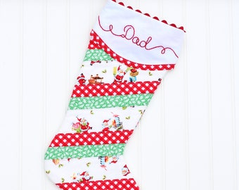 Striped Christmas Stocking, Personalized Christmas Stocking, Embroidered Christmas Stocking, Christmas Stockings Monogrammed