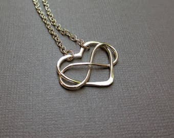 Infinity Heart Charm Necklace, Sterling Silver, Intertwined Heart & Infinity Link Necklace, Mama Metal, Medium,