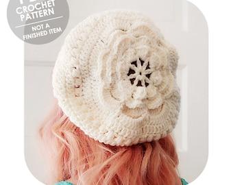 crochet pattern - slouchy flower hat - boho bohemian - slouchy crochet hat - crochet slouchy hat pattern - floral flowers - slouchy beret
