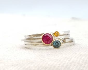 Beauty Gift · Tiny Birthstone Ring · Ring · Stacking Rings · Birthstone Jewelry · Mom Gift · Minimalist Engagement Ring ·  Unique Engagement