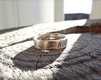 Heartbeat EKG Ring, 6mm band, Handmade with your choice of recycled Silver, 14k Yellow or White Gold, Palladium & Platinum, Wedding Band