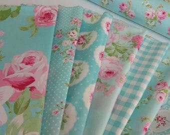 CHARLOTTE Tanya Whelan FreeSpirit Fabrics Quilting Shabby Chic In Blue 7 Fat Quarters Bundle