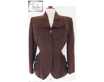 Vintage 1940s Lilli Ann Jacket / c. 1949 Collectable Suit Jacket with Unique Style / Brown Wool 40s Blazer