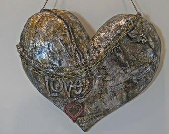 Metal Heart Wall Hanging, Metal Assemblage, Heart Assemblage, Metal Art, Recycled Art, Recycled Metal, Heart Art, Heart Sign Steampunk Heart