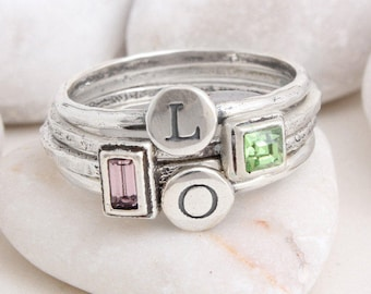 Personalized Mothers Rings, Sterling Silver Stacking Custom Mothers Ring, Hand Stamped with Initials and Birthstones. Design your own ring!