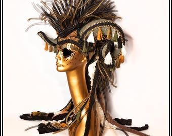 Road Warrior… Huge Ram Horn Mohawk Headdress in Army Green with Gold Metal Studs and Tassels