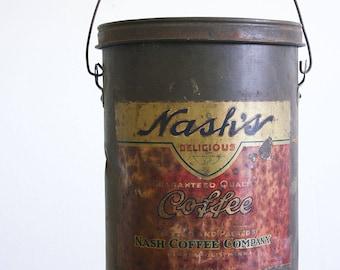 Antique Nash's Coffee Tin / XL 10 Pound Coffee Can / Industrial Farmhouse Decor
