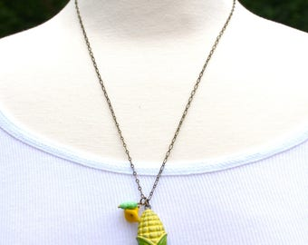 Summer Corn Locket Pendant Vegetarian Necklace Farmer's Market Corn on the Cob County Fair Gift for Her Wimsical Necklace Gift for Him Corny