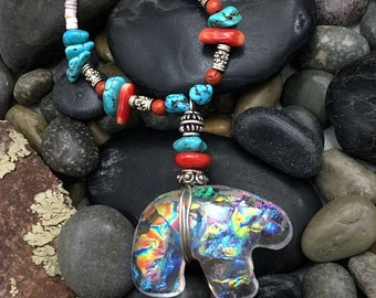 Bear Pendant, Dichroic Glass, Bear Necklace, Mother Bear, Spirit Bear, Medicine Bear, Southwestern Necklace, Bear Totem, Turquoise, Coral