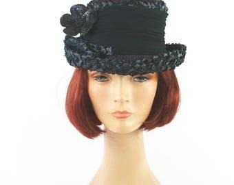 Vintage 60s Mod Flower Hat Ladies Black Cellophane Straw Hat Black Chiffon Band Sequin Flower Hat Pin
