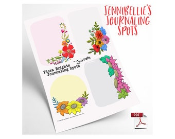 Flora Brights Journaling Spots Digital Collage Sheet by Jennibellie