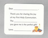 First Holy Communion Thank You Cards - Fill in the Blank Cards, Communion Party Cards, Communion Thank Yous, Catholic First Communion Cards