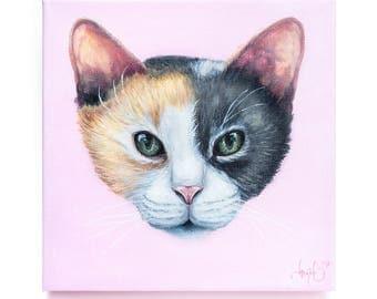 Custom Pet Portrait - Hand Painted Acrylic Cat Painting