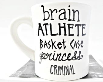 Back to School, Funny Mug, tea cup, Funny Coffee Mugs for Teachers, diner mug, brain, athlete, princess, criminal, the breakfast club, 80s