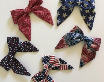 Petite Peanut Bitty Bow Headband - 4th of July - Baby Girl Toddler - (Made to Order)- Red White Blue