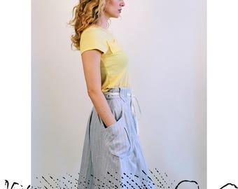 Rayna Wrap / eco stripe skirt - Summer weight hemp & organic cotton yarn dyed stripe / Handmade in Canada