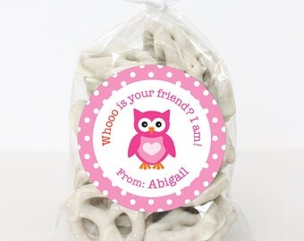 Valentine's Day Stickers - Owl - Whooo is your friend? I am! - Sheet of 12 or 24