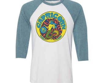 Capricorn T Shirt... Capricorn Birthday... Capricorn Gift... 3/4 Length Sleeves... Unisex Style... 60s 70s Inspired