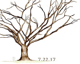 Medium (Tracy 7.22.17) Watercolor Cherry Blossom Thumbprint Tree  Falcon. Poodle. Ink Pens.Pads 180 guests 18'' x 24'' Dry Mounted