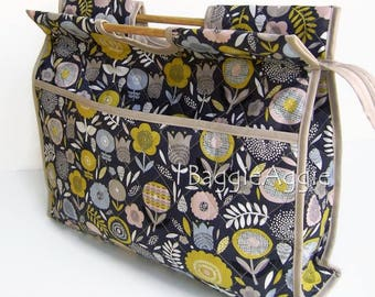 Craft Storage Bag, Large Knitting Bag, Knitting Project Bag, Grey Sewing Bag, COOL FLORAL Carry Bag. Mothers Day Gift.
