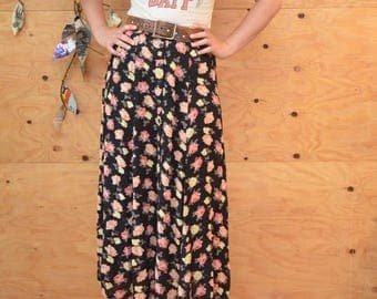 Vintage 80's Floral Button Up Skirt A-line Maxi Skirt Black Peach & Cream Flowers SZ M