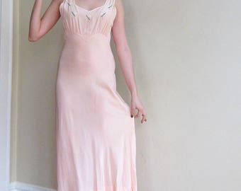 Vintage 1930s Bias Cut Nightgown in Peach Rayon / 30s Slip Dress in Pink with Floral Embroidery by Bur-Mil / Med