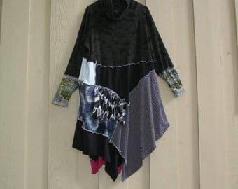 OOAK Tunic Bohemian Tunic Top Dress Upcycled Tunic Boho Top XL 1X