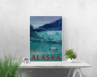 ALASKA Poster A4 A3 A2 Print Glacier Art Travel Poster Vintage Style Art Cruise Ship Winter Wall Art Turquoise Blue Decor