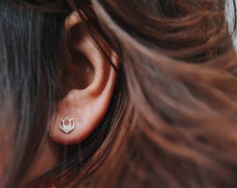 Sterling Silver Lotus Stud Earrings