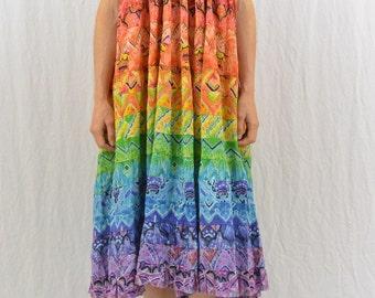 Vintage Halter Dress, Maxi Skirt, Size Medium-Large, Hippie, Festival Clothing, Rainbow Dress, Rainbow Skirt