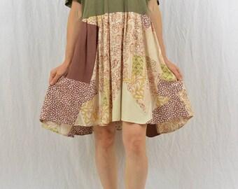 Upcycled Babydoll Mini Dress, Size Medium-Large, Mori Girl, Boho, Patchwork Dress, Hippie, Festival Clothing, Grunge, OOAK