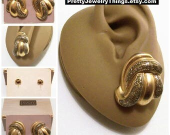 Avon Glitter Swirl Tubes Pierced Stud Earrings Gold Silver Tone Vintage 1987 Puffed Layered Curls Surgical Steel Posts