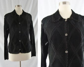 SALE Vintage Suede Jacket - Eighties Black Scully Leather Jacket - 80s Boho Suede Crochet Coat -  Medium Leather Jacket