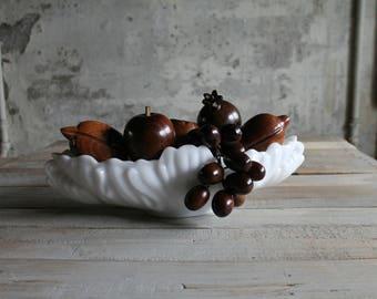 6 Pc Vintage Hand Carved Wooden Fruit