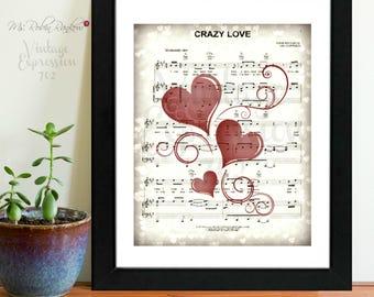Van Morrison, Crazy Love, Lyric Song Music Sheet, Print