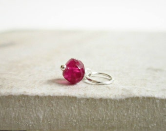 Tiny Solo - Lg - Berry Red Ruby Pendant - Born in July Birthstone Jewelry - Genuine Ruby Jewelry - Wire Wrapped Stone Pendant
