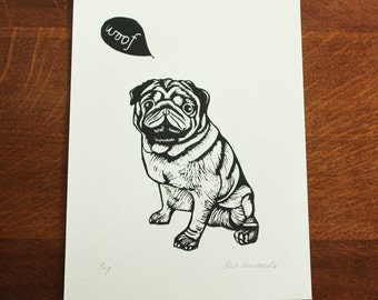 Pug puppy, original linocut print, Signed Open Edition, Free Postage in UK, Hand Pulled, block print, Printmaking,