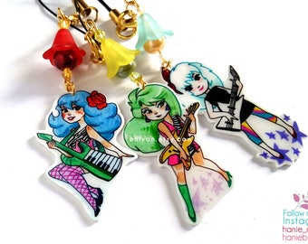 Phone strap charm/ shrink plastic/ The Misfits/ accesories/ Jem and The Hologram