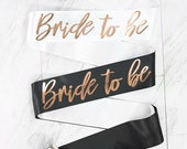 Bride To Be Rose Gold Foil Sash   Bridal Party Sash   Bachelorette Party Sash   Hen Party