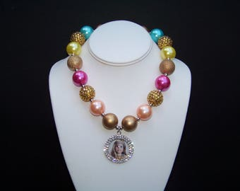 American Girl Doll Necklace / Julie / Pink + Gold + Rhinestones / Chunky Bubblegum / Photo Prop / Birthday / Pageant / Toddler / Girl