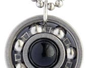 Obsidian Roller Derby Skate Bearing Pendant Necklace