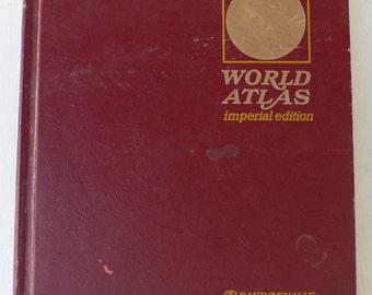 vintage Atlas, Rand McNally World Atlas, Imperial Edition, 1968, free shipping, from Diz Has Neat Stuff