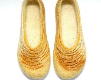 Felted slippers - Women slippers - Women home shoes - Wool clogs - Valenki - Yellow white - Handmade - Gift for her - Love slippers