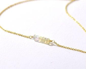 14K Gold. Ethiopian Opal Necklace • Dainty rainbow Opal Necklace• Delicate, Everyday Necklace •October Birthstone necklace