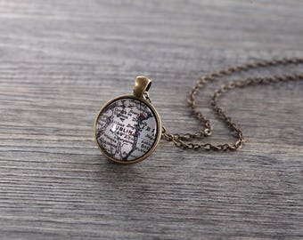 Dublin Map Necklace - Ireland, Customizable Map Necklace -Vintage Map Series