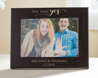 Personalized Engagement Black Wood Picture Frame: Custom Engraved Engagement Gift, Just Engaged Gift, She Said Yes Picture Frame, SHIPS FAST