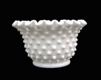 Vintage Fenton Hobnail Milk Glass Mayonnaise Bowl Fluted Edges Milkglass Dish Milk Glass Bowl